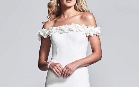 white off the shoulder dress with floral neckline faviana s10297