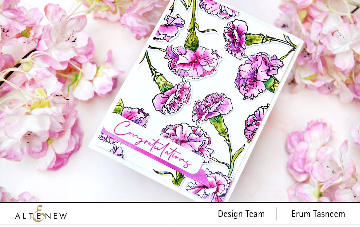 Altenew PAF Carnations Stamp Set | Erum Tasneem | @pr0digy0