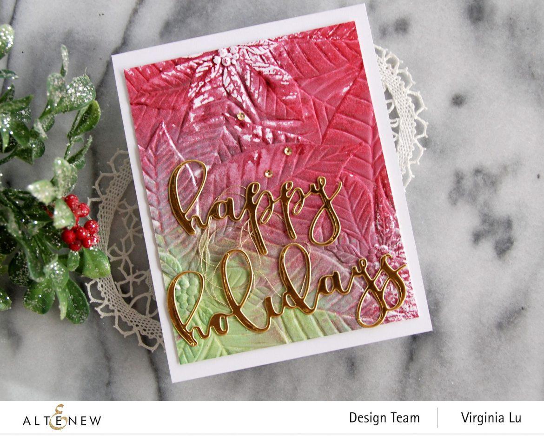 11282020-Perfect Poinsettias 3D Embossing Folder -Complete Ink Spray Bundle -Happy Holiday Die-Happy Holidays Script Die Set -003