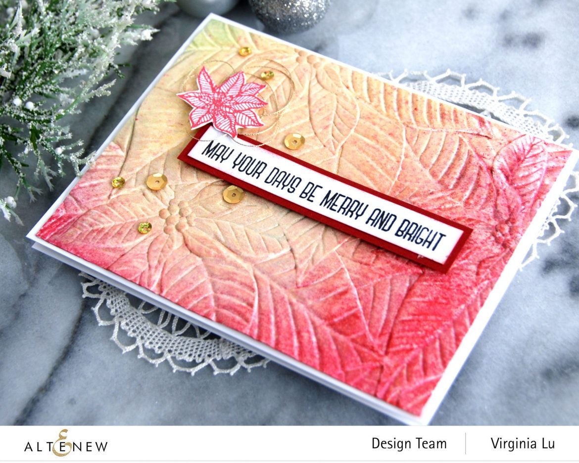 11282020-Perfect Poinsettias 3D Embossing Folder -Complete Ink Spray Bundle -Holiday Flower Stamp -001