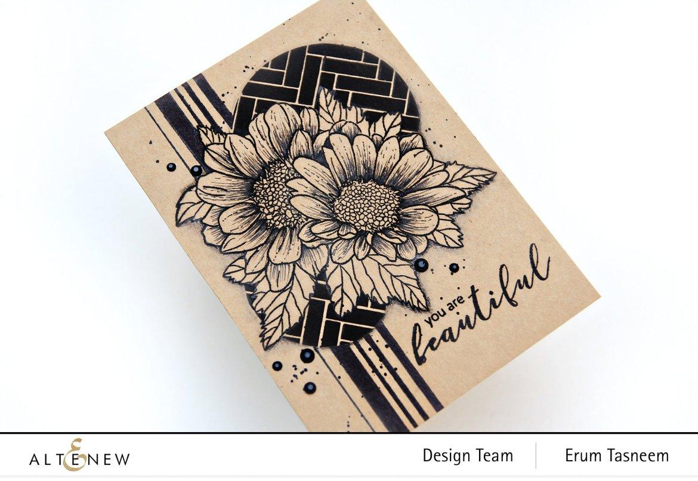 Altenew Spring Daisy Stamp Set, Broken Chevron Stencil | Erum Tasneem | @pr0digy0