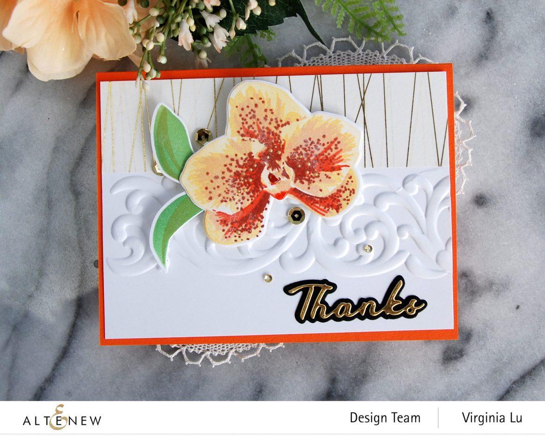 01052021-Spotted Orchid Stamp Die Mask Stencil Bundle-Simple Greetings Die Set-Swirl Motif 3D Embossing Folder -002