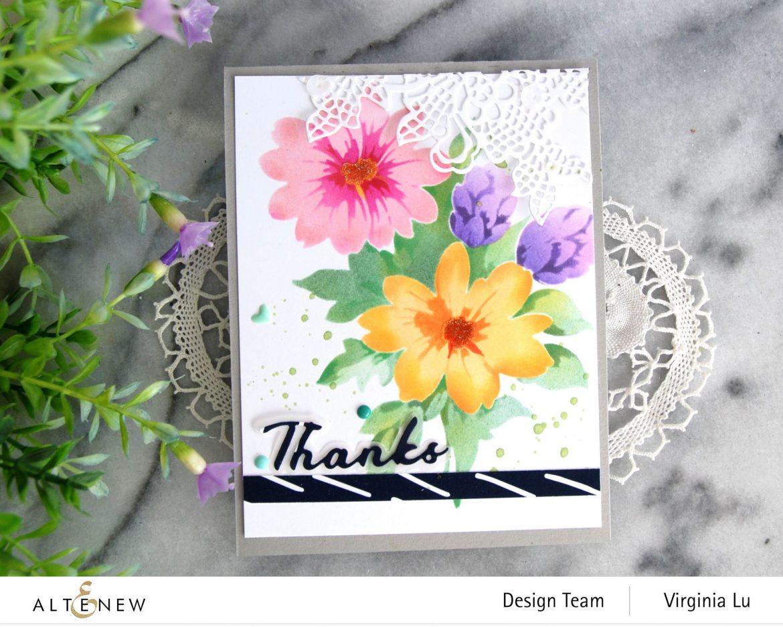 Altenew-Flower Bunch Simple Layering Stencil-Simple Greetings Die-Sweet Moments Paper Pack-Seashore Enamal Dots -003