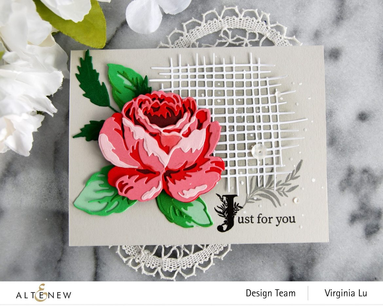 Altenew-CAF Antique Rose-Gradiant Card Stock (Red Cosmos)-Storybook Stamp-Burlap Texture Die-002