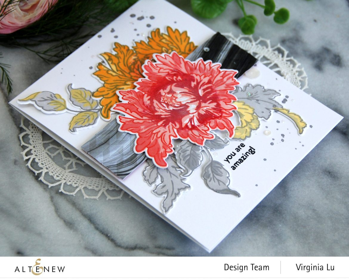 0525-2021-MejesticBouquet Stamp& Die Bundle-Angled Mosaic 3D Embossing Folder-Poured Acrylic Paper Pack-001