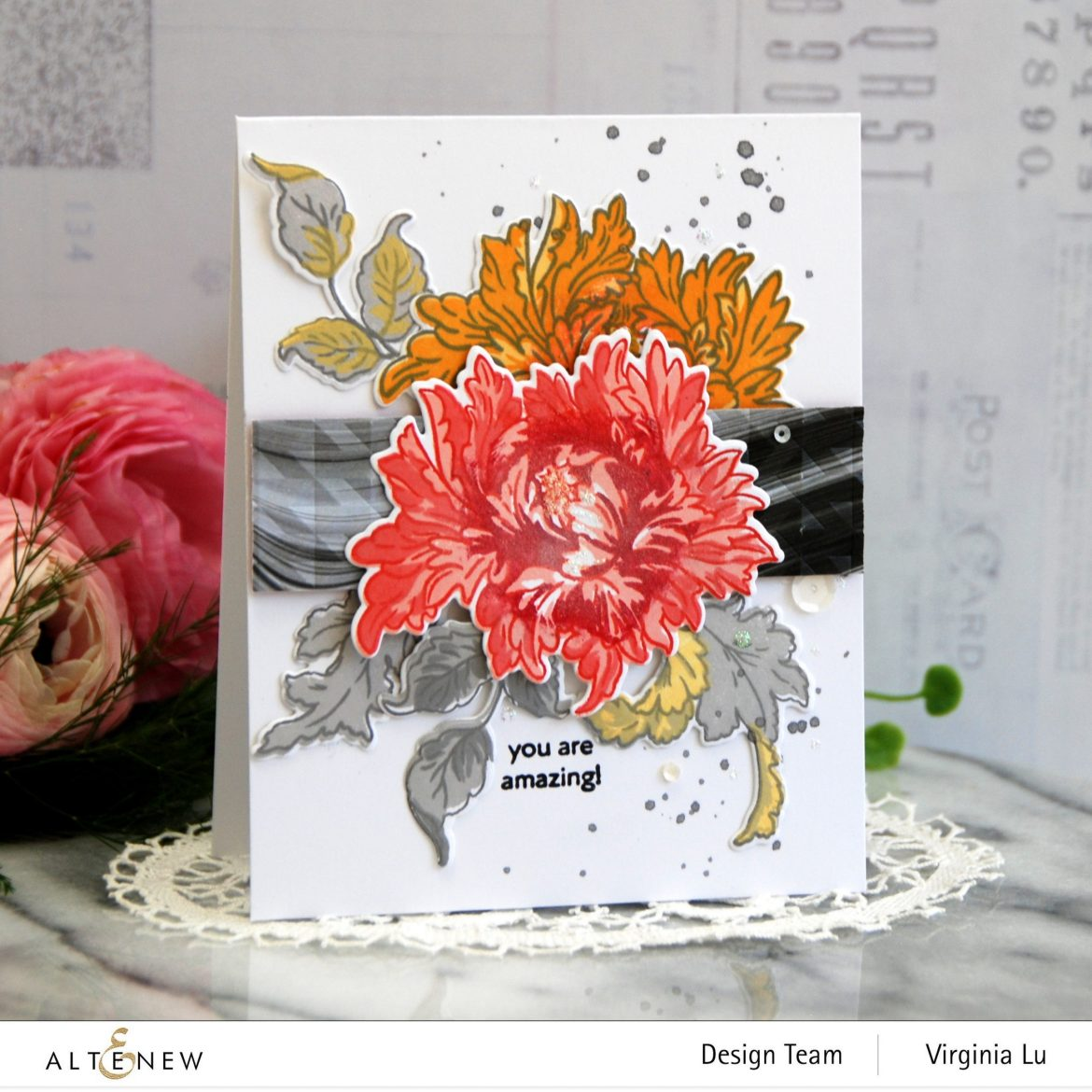 0525-2021-MejesticBouquet Stamp& Die Bundle-Angled Mosaic 3D Embossing Folder-Poured Acrylic Paper Pack-002