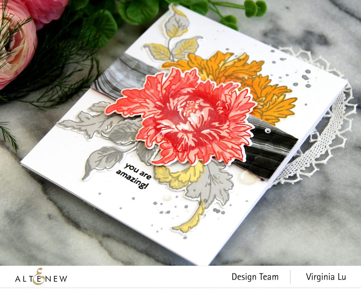 0525-2021-MejesticBouquet Stamp& Die Bundle-Angled Mosaic 3D Embossing Folder-Poured Acrylic Paper Pack-003