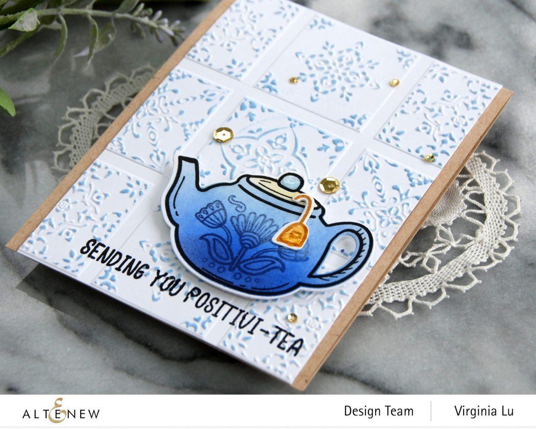 Altenew-Dreamy Tile 3D Embossing Folder-Tea For Two Stamp & Die Bundle-002