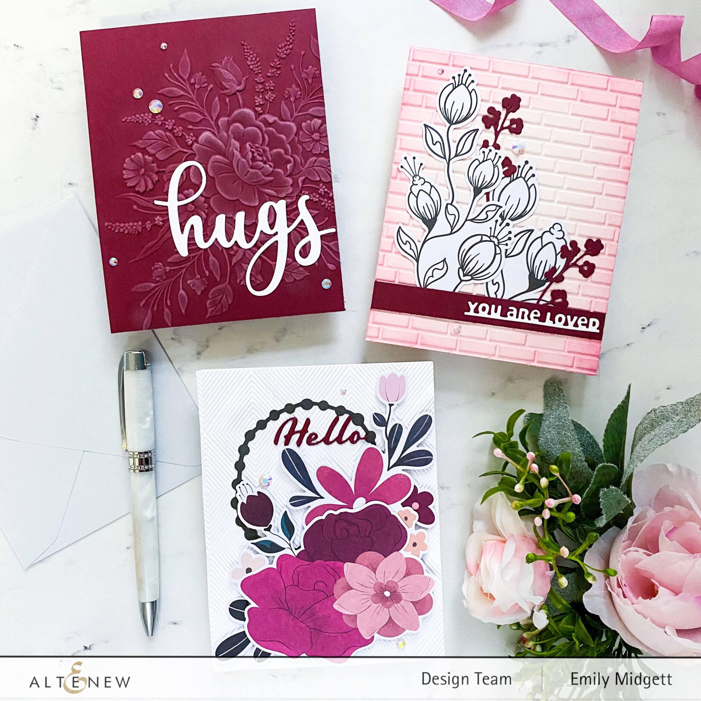3 Beautiful Cards with NEW 3D Embossing Folders