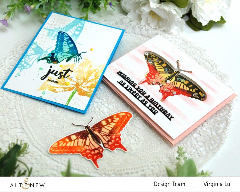 06032021-Dovetail Butterflies Stamp & Die Bundle -Blooming Tulips Stamp Set-Feeling Dotty Stencil-Slim sentiment Die