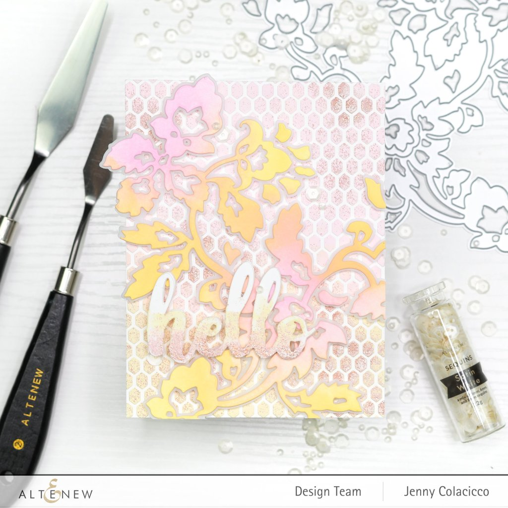 Altenew Embossed Stenciled Card
