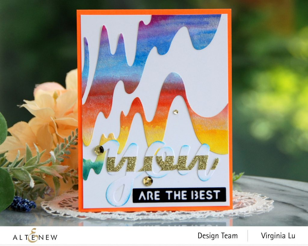 Altenew-Wave Form Cover Die-Woven Stripes Stamp-24 Watercolor Pan Set-Dazzling Diamond Glitter CArdstock