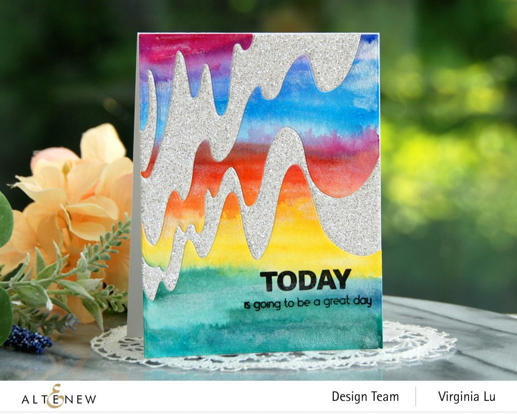 Altenew-Wave Form Cover Die-Woven Strips Stamp Set-24 Watercolor Pan Set-Dazzling Diamond Glitter Cardstock-001