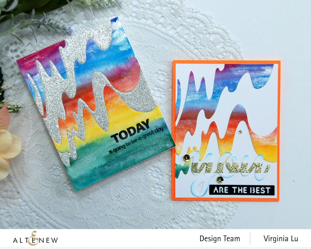 Altenew-Wave Form Cover Die-Woven Strips Stamp Set-24 Watercolor Pan Set-Dazzling Diamond Glitter Cardstock-005