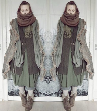 NATURAL LAYERS: Altshop.co.uk's favourite fashion blogger Mai Magi in her Mori Kei outfit.