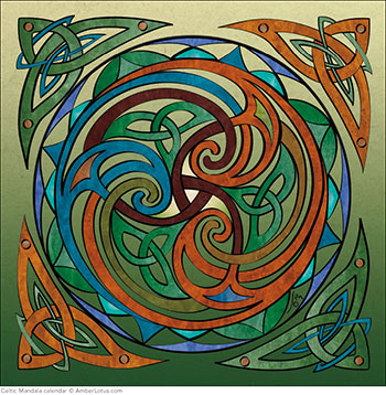"""Dance of Life"" by Jen Delyth from the Celtic Mandala 2015 wall calendar"