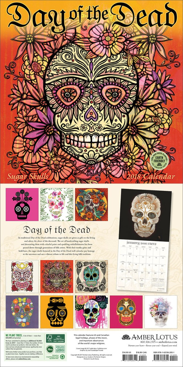Day of the Dead 2018 wall calendar