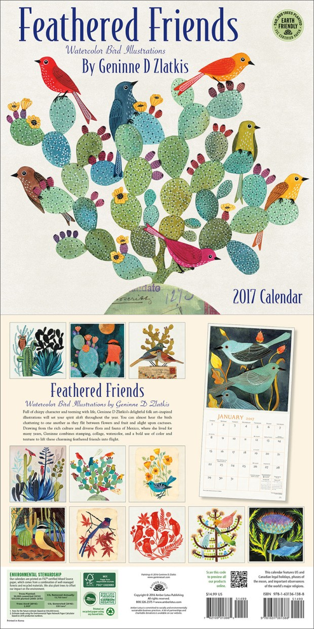 Feathered Friends 2017 wall calendar by Geninne D Zlatkis