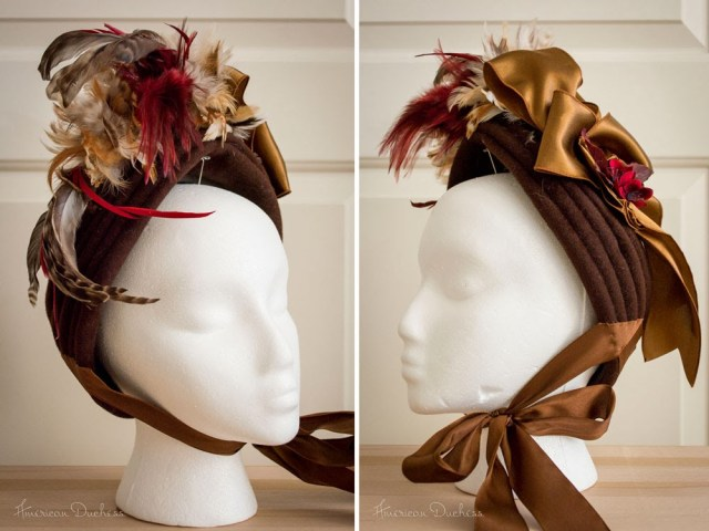 1870s bonnet made from 1950s hat