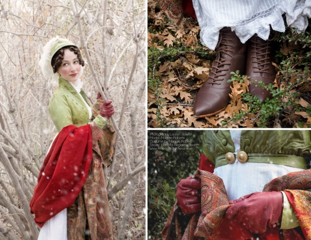 """Maggie is wearing a green silk taffeta spencer and casquette hat, paired with an antique red wool shawl, over a white cotton gown paired with """"Hartfield"""" Regency Boots in brown."""