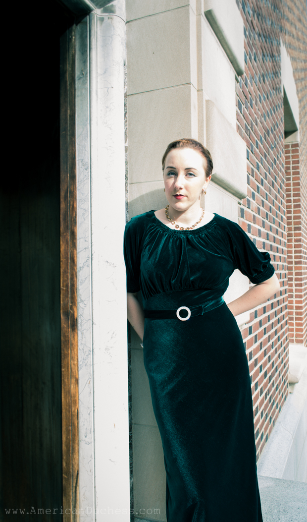 1933 bias cut velvet gown by American Duchess