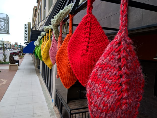 "Cori North's yarn installation, ""Waiting for the Green New Deal."""