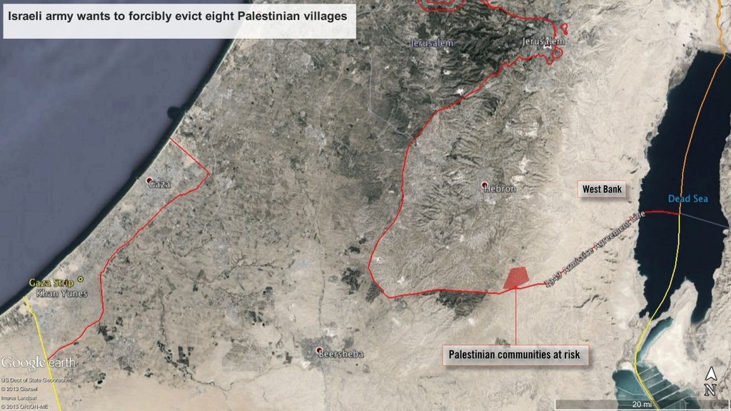 The Israeli army wants to forcibly evict the roughly 1,000 residents of eight Palestinian villages southeast of Hebron in the occupied West Bank © Google Earth. Image ©  Landsat 2013.