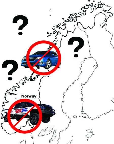 Norway, ban gas diesel, map
