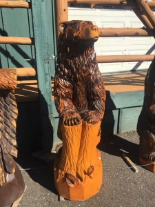 Bear carved out of wood.