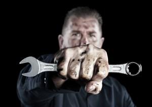 mechanic hand crescent wrench fist
