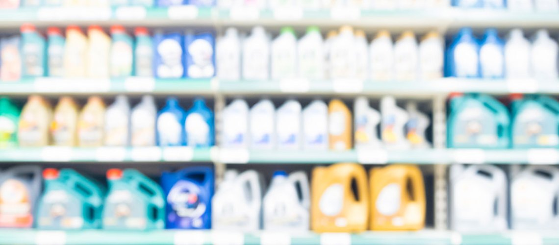 Oil bottles on a retail shelf