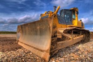 Heavy-equipment bulldozer.