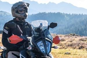 Motorcycle helmet and gear.