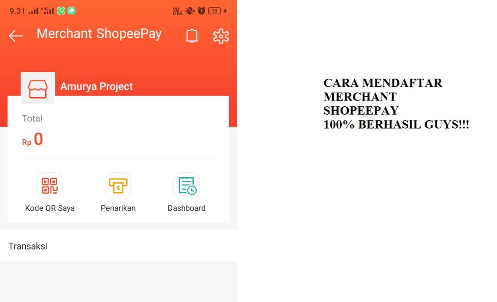 cara mendaftar merchant shopeepay