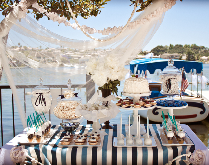 this nautical themed bridal shower had us swooning it was designed by heather equitz of heather equitz designs the bride and groom were going to be
