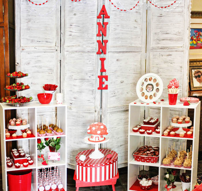Red and White Birthday Dessert Table