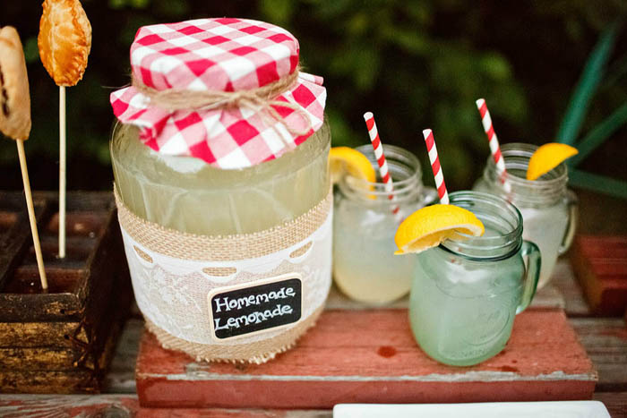 Lemonade in Mason Jars Rustic Country Dessert Table