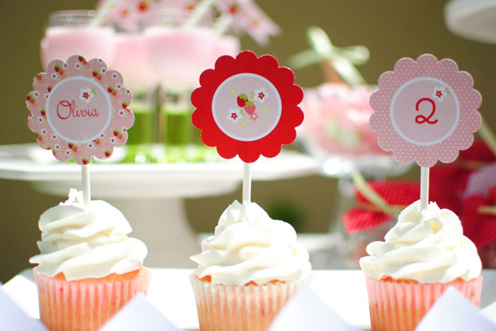 Strawberry Cupcakes on Strawberry Guest Dessert Table