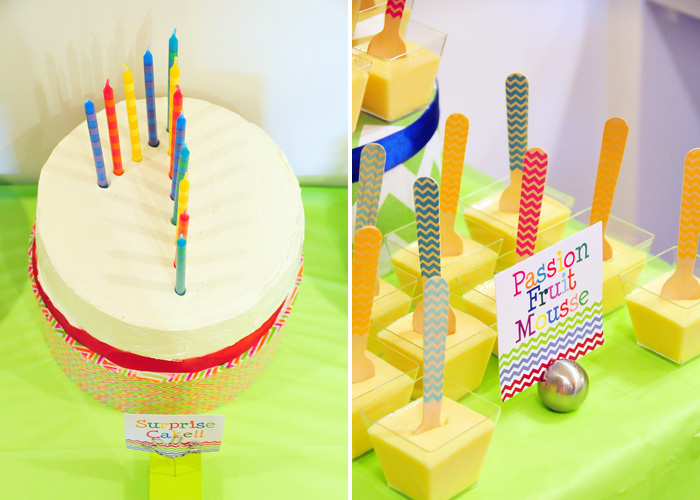 Rainbow Chevron Patterned Dessert Table with Rainbow Cake