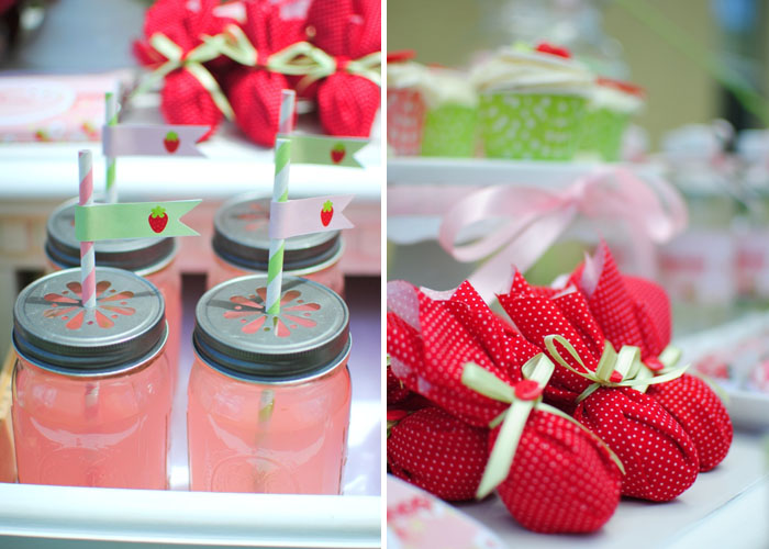 Mason jar drinks and favors from Strawberry Guest Dessert Feature