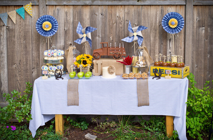 Burlap and bluegrass bunting dessert bar