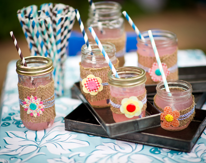Burlap and bluegrass dessert table lemonade in mason jars