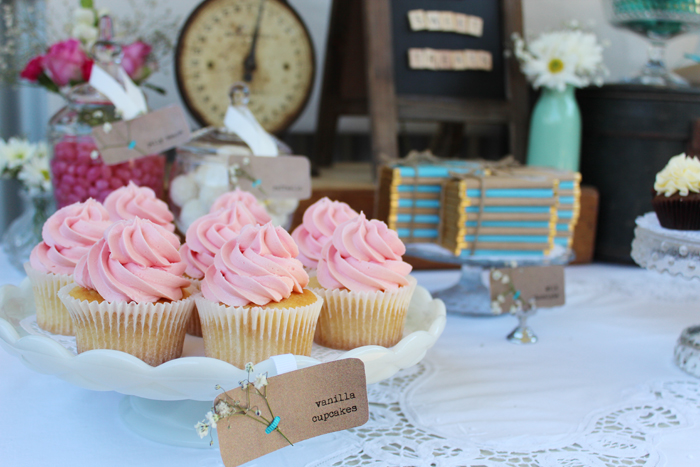 Rustic Vingtage Engagement Party Desset Table pink cupcakes