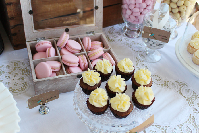 Rustic Vingtage Engagement Party Desset Table Cupcakes and Macarons