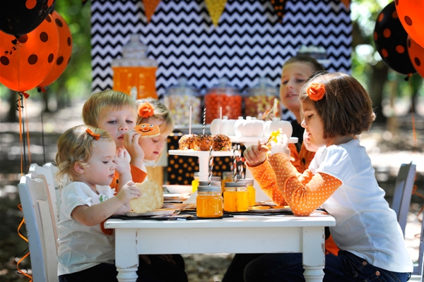 Chevron Black and Orange Halloween Dessert Table
