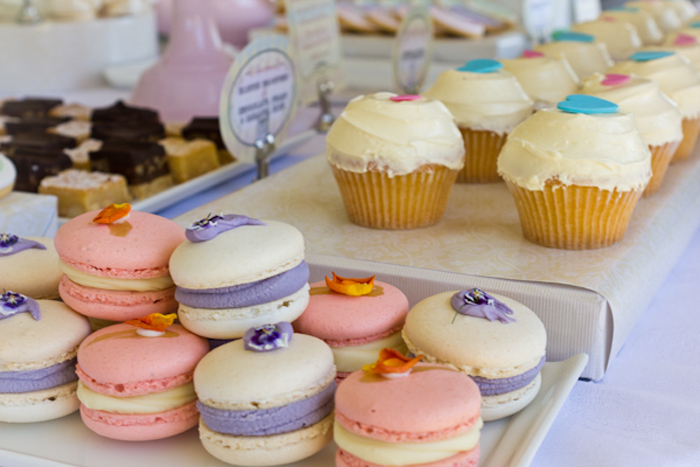 Alice in Wonderland Inspired Dessert Table purple and pink macarons