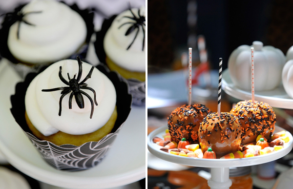 Chevron Black and Orange Halloween Dessert Table Spider Cupcakes