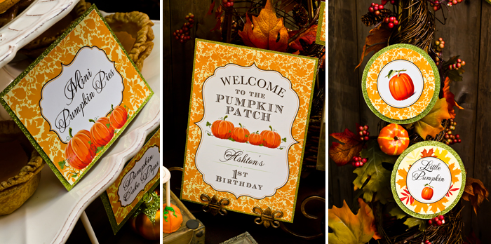 Fall Inspired Little Pumpkin Dessert Table First Birthday Party Printables