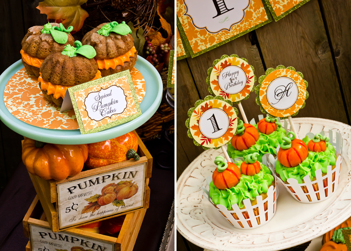 Fall Inspired Little Pumpkin Dessert Table First Birthday cupcakes
