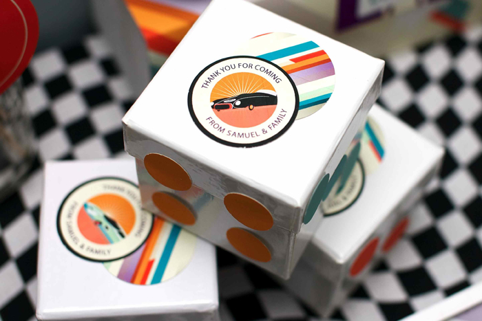 Vintage Race Car Birthday Party Dessert Table Dice Favors